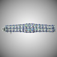 Made in Austria  Blue Aurora Borealis Five Row Rhinestone Rhodium Plated Bracelet