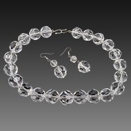 Estate Faceted Crystal Glass Necklace and Pierced Earrings