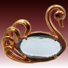 Vintage  Glass Body Copper Swan Brooch