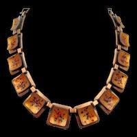 Vintage Signed Matisse Copper Enamel Necklace