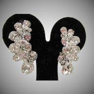 Vintage Signed Eisenberg Crystal Drop Clip Earrings