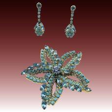 Vintage Turquoise Rhinestone Brooch and Drop Pierced Earrings