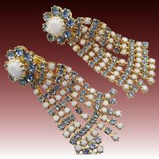 Vintage Drop Rhinestone Milk Glass Dangling Clip Earrings