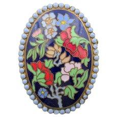 Vintage French Floral Cloisonne Enamel Brass Brooch
