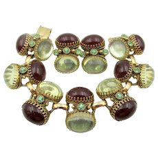 Vintage 1940s Double Oval Cabochon Rhinestone Bracelet and Earring Set