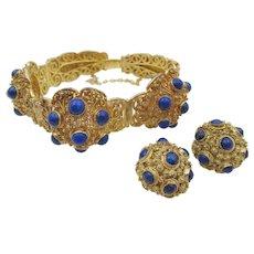 Antique Chinese Export Vermeil Sterling  Lapis Bracelet Set