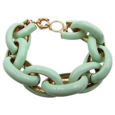 Vintage Mint Green Enamel Link Bracelet - Red Tag Sale Item