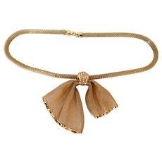 Vintage Givenchy Mesh Draped Bow Rhinestone Necklace