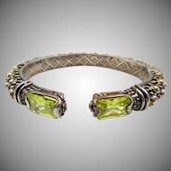 Vintage Sterling Silver Ornate Rhinestone Cuff Bracelet