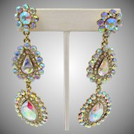 "Vintage Aurora Borealis Drop Pierced 3.5"" Drippy Earrings"