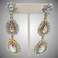 "Vintage Aurora Borealis Drop Pierced 3.5"" Drippy Earrings"