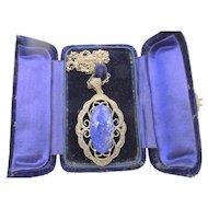 Vintage Edwardian Birmingham Sterling Marcasite Lapis Lazuli Pendant Necklace