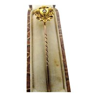 Antique 15Ct 15k Yellow Gold Heart Stick Pin with Pearl in Original Box
