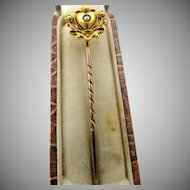 Antique 15CT Yellow Gold Heart Stick Pin with Pearl in Box