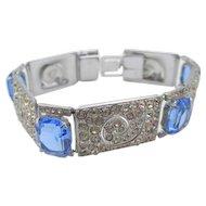 Vintage England Art Deco Diamante Blue Paste Bracelet