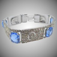 Vintage England Art Deco Diamante Blue Paste Bracelet