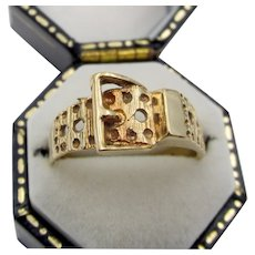 Vintage 9CT Gold English Art Deco Buckle Ring