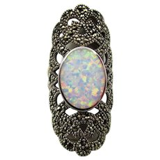 Vintage Marcasite and Opal Silver Long Ring England