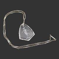 Vintage Edwardian Rock Crystal Intaglio Silver Chain Necklace
