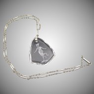 Vintage Edwardian Rock Crystal Intaglio Silver Chain Necklace