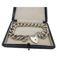 Vintage Sterling Silver Hallmarked Heart PadLock  Bracelet England 52 Grams