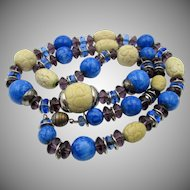 French Art Deco Galalith and Glass Bead 25 Inch Necklace by Louis Rousselet