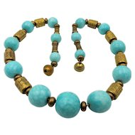 French Art Deco Glass and Metal Bead Necklace by Louis Rousselet