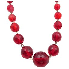 Vintage Czech Art Deco Red Faceted Glass Bead Necklace