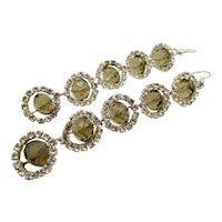 Vintage Crystal Rhinestone 3.5 Inch Drop Pierced Earrings