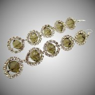 Vintage Crystal Rhinestone 3.5 Inch Drop Pierced Earrings