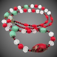 Vintage Czech Red and Peking Glass Beaded Necklace