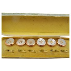 Vintage Mother of Pearl Shirt Stud Button Set in Original Box