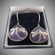 Vintage Amethyst Silver Overlay Dragonfly Pierced Earrings
