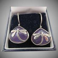 Vintage Amethyst Silver Overlay Dragonfly Pierced Earrings