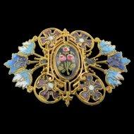 Antique Edwardian Cloisonne and Enamel Openwork Buckle