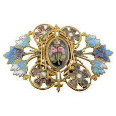 Antique Edwardian Cloisonne and Enamel Openwork Buckle