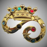 Vintage Butler and WIlson England Crown Jeweled Cabochon Brooch