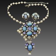 Vintage Butler and Wilson Rhinestone and Faux Pearl Drop Necklace and Earring Set