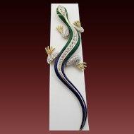 Vintage Attwood and Sawyer Enamel Rhinestone Lizard Figural Brooch
