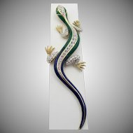 Vintage Attwood and Sawyer Enamel Rhinestone Lizard Figural Brooch
