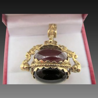 Antique 9k Gold Spinner Fob Three Stone Tigers Eye Carnelian and Onyx