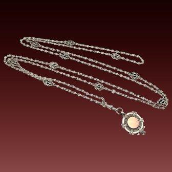 Antique Silver Filigree Guard Chain and Shield Fob 60 inches