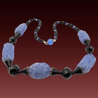 Vintage  Purple Spun Glass and Black Jet Beaded Necklace