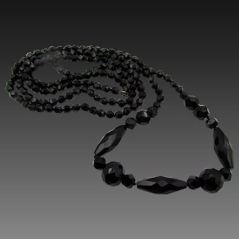 """Vintage French Jet Faceted Bead 43"""" Long Flapper Necklace"""