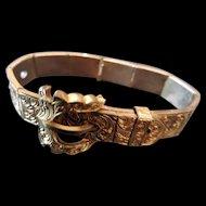Antique Victorian Gilt Gold Engraved Buckle Bracelet