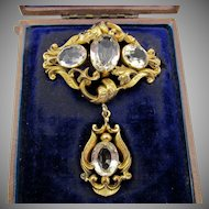 Early Victorian Gold Gilt and White Topaz Drop Brooch in Original Fitted Case