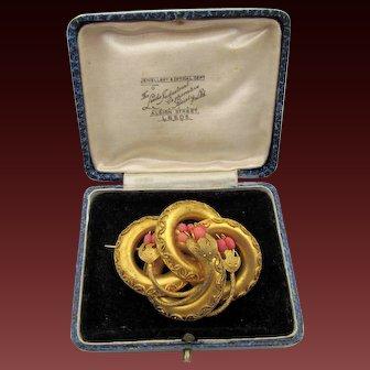 Victorian Gold Gilt Circular Coral Brooch