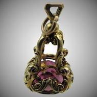 Vintage 9k Gold Amethyst Paste Fob Pendant