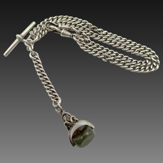 Vintage Sterling Double Albert Watch Chain Necklace with Bloodstone Spinner Fob