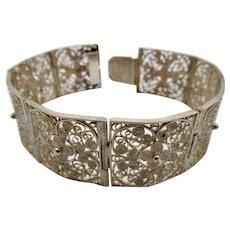 Vintage Chinese Export Filigree 800 Silver Bracelet